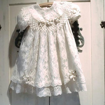 Vintage Designer Flower Girl Party Special Occasion Dress Ivory Lace Silk Ribbon And Pearl Trim 4T