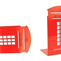 One Pair Vintage Fashion British Style London Telephone Booth Kiosk Thickening Iron Library School Office Home Study Metal Bookends Book End