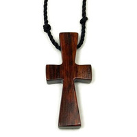 Mens Cross Necklace in South American Snakewood, Unique Baptism Gift or First Communion Gift, Gift for Him or Her, 5th Anniversary Gift
