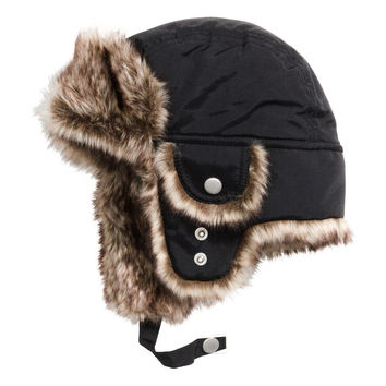 H&M - Hat with Earflaps - Black - Kids