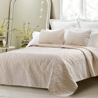Oversized 3pc Quilted Coverlet Set- Ivory