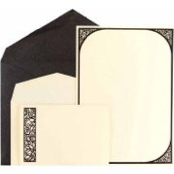 Invitation Combo Set, 1 Small and 1 Large Scroll Border Cards with Black Metallic Envelopes, 150pk