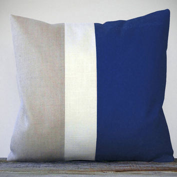 Color Block Pillow (20x20) Indigo, Cream and Natural Linen by JillianReneDecor Nautical Home Decor Colorblock Striped Trio - Cobalt Blue