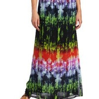 Chaus Women's Tie Dye Texture Long Skirt, Rich Black, X-Large