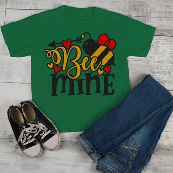 Kids Valentine's Day T Shirt Bee Mine Shirts Cute Bee TShirt Valentines Shirts Arrow Tee Toddler Boy's Girl's