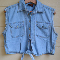 Vintage Womens Cropped Denim Biker Shirt Grunge Denim Shirt Sleeveless Denim Shirt