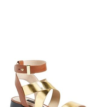 "Women's French Connection 'Corazon' Elastic & Leather Strap Sandal, 1 1/2"" heel"