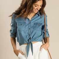 Mabel Denim Tie Front Shirt