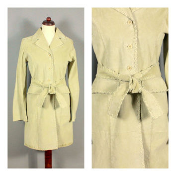 Vintage Tan Suede Leather Trench Coat 60s 70s Small Medium Not Worn Hippie Boho