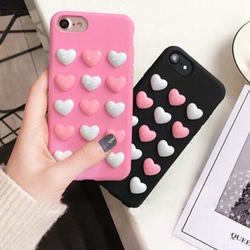 3D Soft Heart Jelly Phone Case Candy For iPhone 6 6s 6plus 7plus