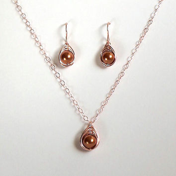 Rose Gold Herringbone Jewelry Set, Swarovski Copper Pearl Jewlery, Pearl Earring and Pendant Set, Gift for Her