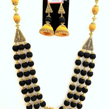 Exclusive Triple Layer Silk Thread Statement Necklace and Earring set