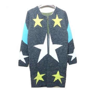 Autumn Cardigans Stars Pattern Print Fashion Women Long Sweaters Loose Warm Knitted Cardigans Long Sleeve Casual Outwears