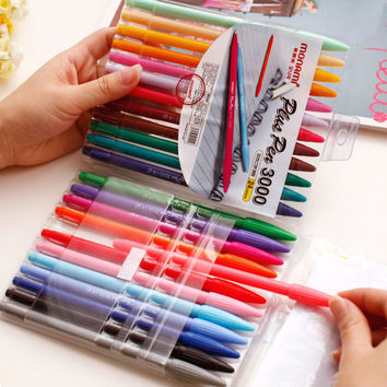 24 Colors Candy Color Plastic Water Color Pen Sets