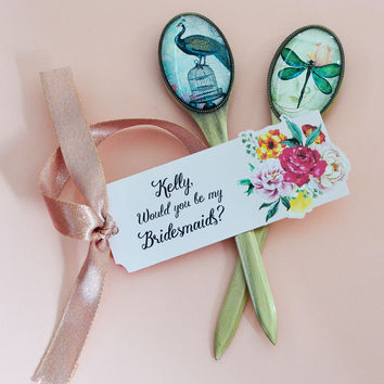 Personalized Maid of Honor Bridesmaid Gift - Letter Opener Vintage Brass (Butterfly and Peacock illustration)