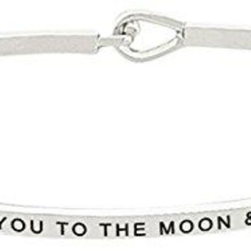I Love You To The Moon and Back Thin Bangle Bracelet  Positive Inspirational Quote Mantra Message Jewelry Gifts for Women amp Teen Girls