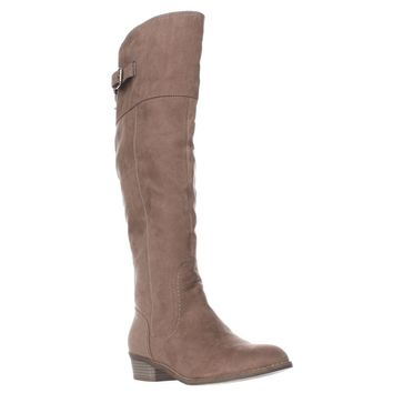 G by GUESS Aikon Back Lace Buckle Tall Boots, Taupe, 6.5 US