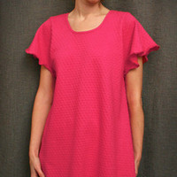 Hot Pink Short Gown Dot Collection | Simple Pleasures, Inc.