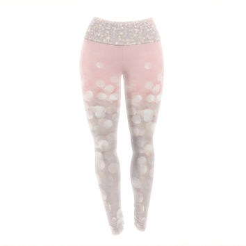 "Debbra Obertanec ""Magical"" Pink Glitter Yoga Leggings"