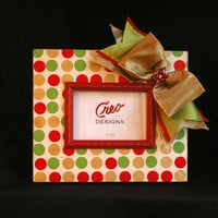 Handmade Christmas Polka Dot Picture Frame with Bow 5x7 Photo Frame Red Gold Green