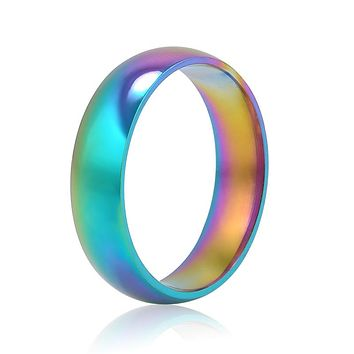 Women's Rainbow Titanium Steel Wedding Bands.   Sizes 6 to 10.   Pretty and Colorful!!   ***FREE SHIPPING***