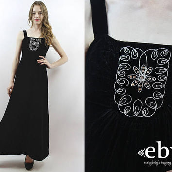 Black Velvet Dress Velvet Maxi Dress 1970s Dress 70s Dress Goth Dress Party Dress Black Velvet Dress Rhinestone Dress Evening Dress XS