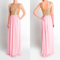 Affordable Floor Length Dusty Pink Sequin Maxi Bridesmaid Dress Evening Party Dress