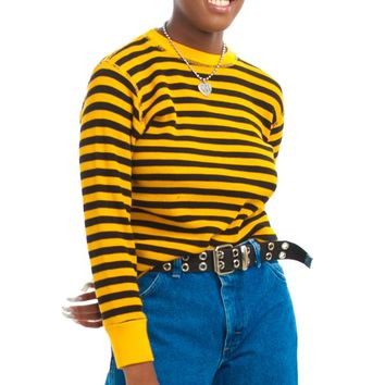 Vintage Y2K Dressed In Yellow She Says Hello Striped Thermal - One Size Fits Many