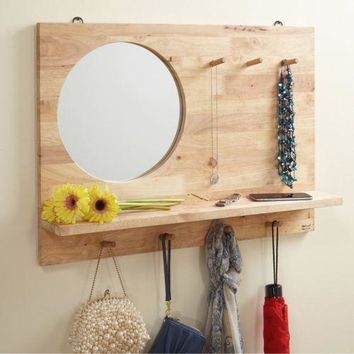 Accent Wall Mirror Round Rustic Large Entryway Shelf Hooks Pegs Hang Mounted