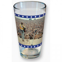 Woodstock Crowd Photo Quote Pint Glass - Barware Items - Home Décor - Rockabilia