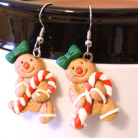 Gingerbread Girl Cookie with candy cane and green bow Repurposed Christmas Ornament Earrings - Womens Jewelry - Holiday Earrings