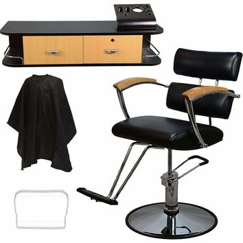 LCL Beauty Salon Styling Station Package: Contemporary Hydraulic Barber Chair & Wall Mount Locking Styling Station with Oak Drawers FREE Steel Instrument Holder