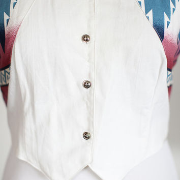 80s Roughrider Large Open-Back Western Button-Up Crop Top