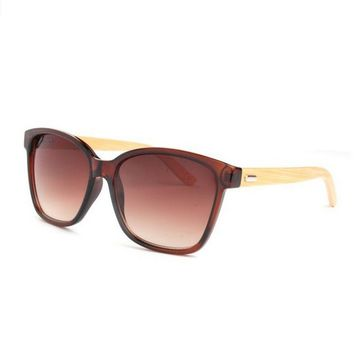 Unisex Bamboo Wood Brown Sunglasses with Polarized Lenses