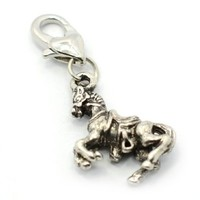 "Pro Jewelry ""Riding Horse"" Clip-on Dangling Charm with Heart Clasp for Chain Link Charm Bracelet"