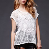 House of Harlow Crochet Scoop Top - Womens Tee - White