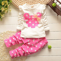 New kids clothes baby girl long rabbit sleeve cotton Minnie casual suits
