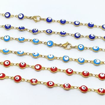 1-1542-g7 Gold Plated Over Stainless Steel Evil Eye Bracelet.