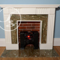 Dollhouse Miniature Georgian Marble Lit Fireplace Green