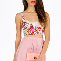 Mira Button Floral Crop Top $30