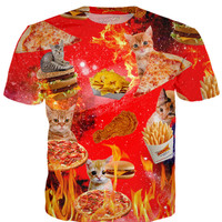 Space Cat Fast Food T-Shirt