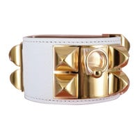 URBAN LEGEND HERMES CDC WHITE BRACELET LEATHER WITH GOLD HARDWARE Sz SMALL !