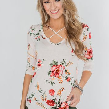 Across The Way Floral 3/4 Sleeve Top- Light Blush