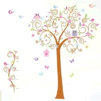 Free Shipping Owl and Color Tree Wall Sticker Decal for Baby Nursery Kids Room By Hermesshop