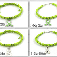 Lime Green Awareness Bracelet, Macrame, Lymphoma, Lyme Disease, Muscular Dystrophy, Ivemark Syndrome, Sandhoff Disease