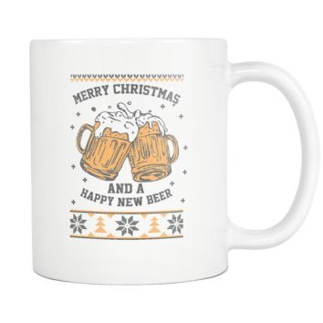Merry Christmas And A Happy New Beer Funny Ugly Christmas Sweater White 11oz Coffee Mug