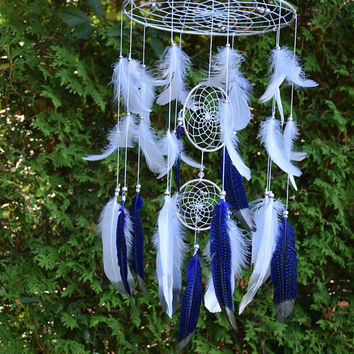 Silver Baby Mobile, Navy Blue White Feather Dreamcatcher Mobile, Silver Navy Blue Nursery Decor, Baby Boy Nursery Mobile, Boy Nursery Decor