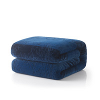 Tache Solid Embossed Cozy Night Blue Sherpa Throw Blanket