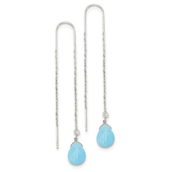 Sterling Silver Blue Agate Threader Earrings