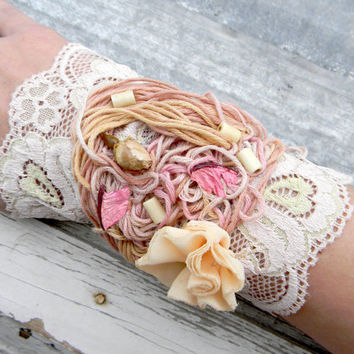 Wrist lace cuff victorian vintage marie antoinette, jane austen whimsical jewelry, women accessories, textile jewelry, fairy pastel upcycled